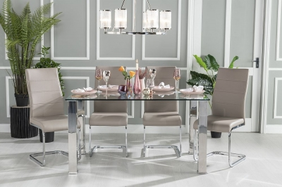 Buy Urban Deco Sophia Glass and Chrome 140cm Dining Table with 4 Malibu Taupe Chairs and Get 2 Extra Chairs Worth £128 For FREE