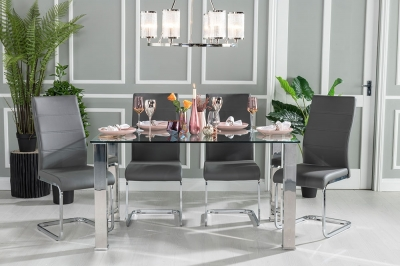Urban Deco Sophia 140cm Glass and Chrome Dining Table