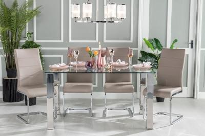 Urban Deco Sophia 140cm Glass and Chrome Dining Table