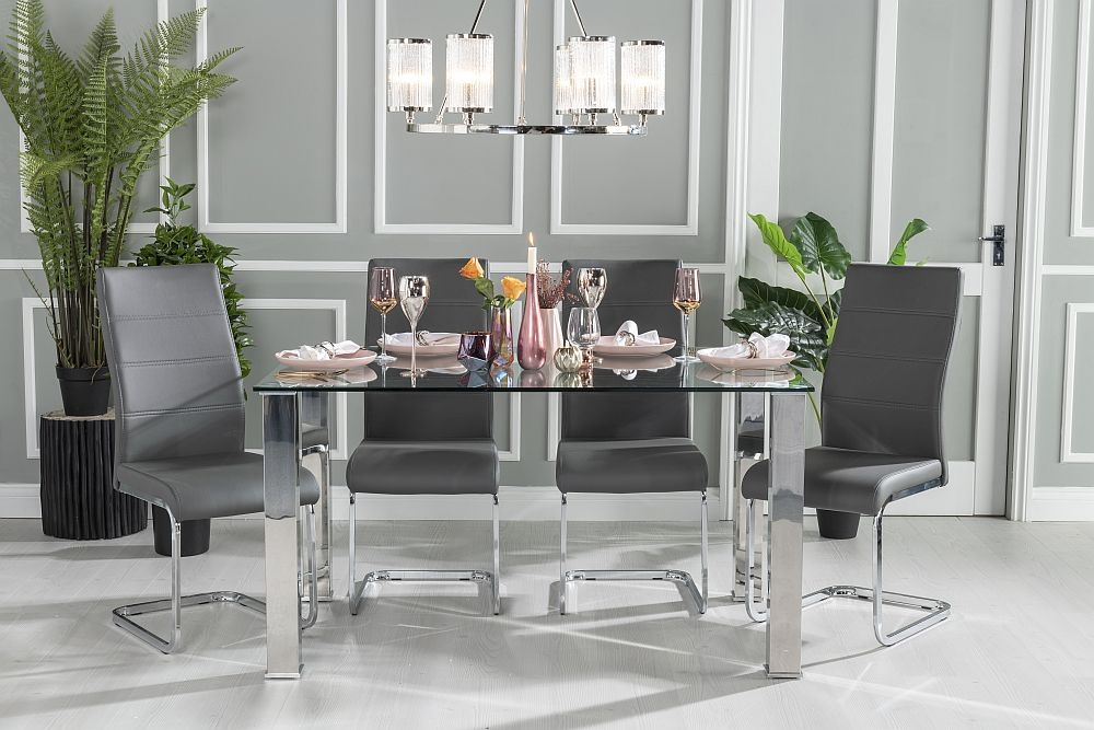 Buy Urban Deco Sophia Glass and Chrome 140cm Dining Table with 4 Malibu Grey Chairs and Get 2 Extra Chairs Worth £128 For FREE