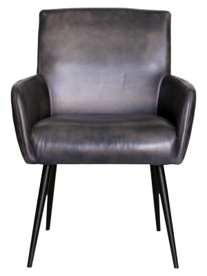 Stanton Genuine Leather Carver Dining Chair - Charcoal