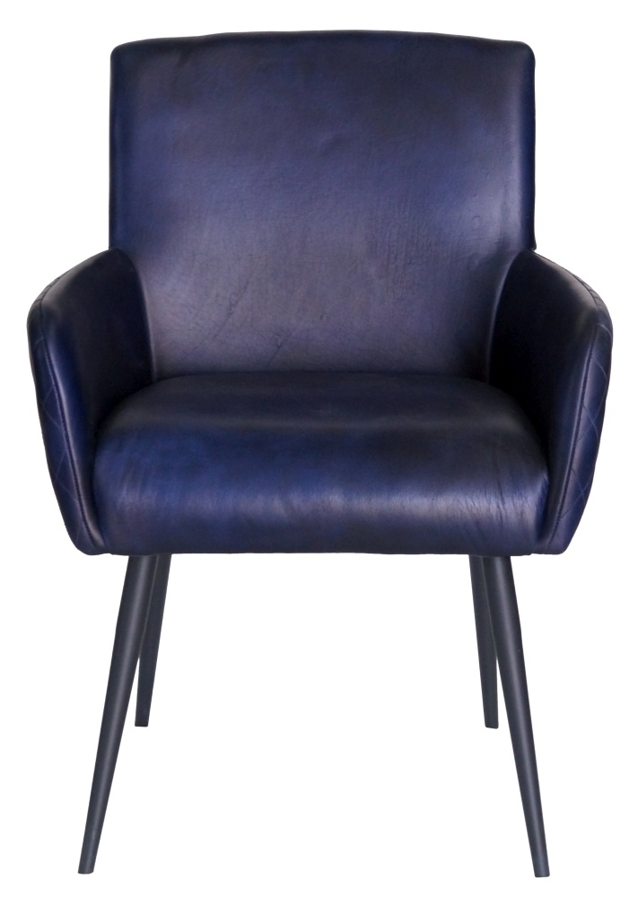 Stanton Genuine Leather Carver Dining Chair - Ink Blue