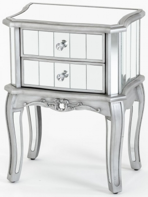Urban Deco Tiffany French Mirrored 2 Drawer Bedside Table
