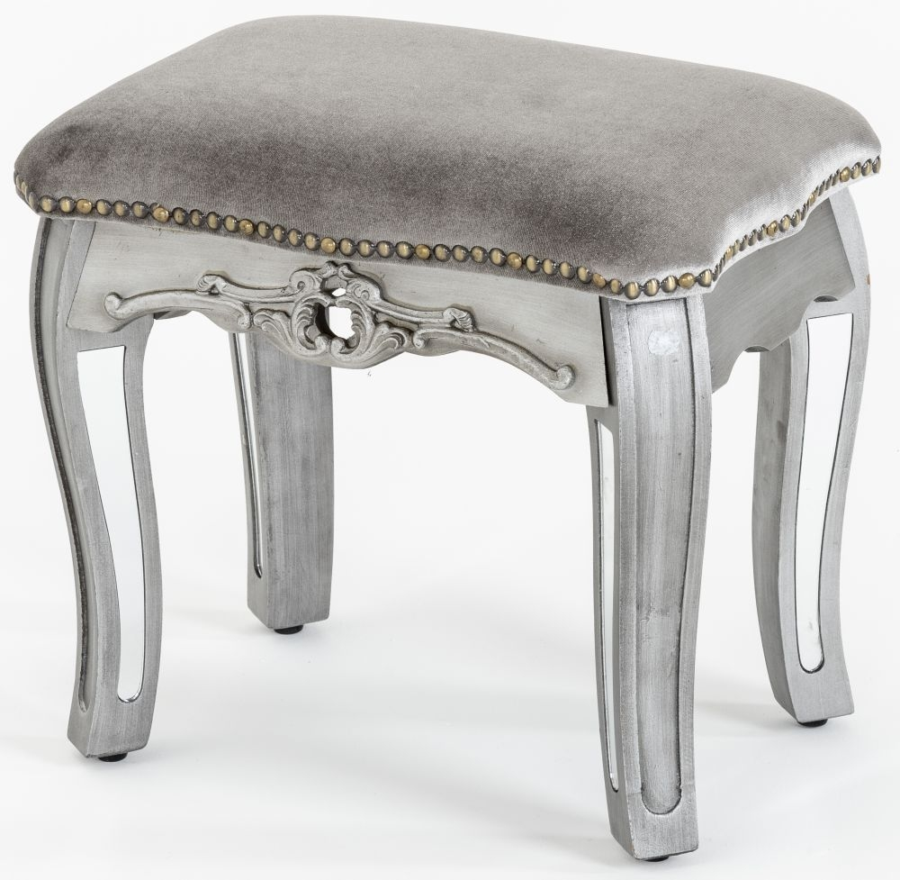 Product photograph showing Urban Deco Tiffany French Mirrored Dressing Stool