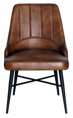 Toronto Vintage Brown Buffalo Leather Dining Chair