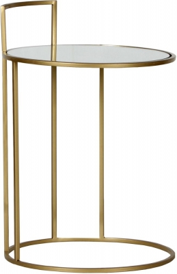 Torrance Round Gold and Glass Side Table
