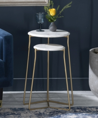Trio White Marble Round Side Tables - Gold Metal Base - Set of 2