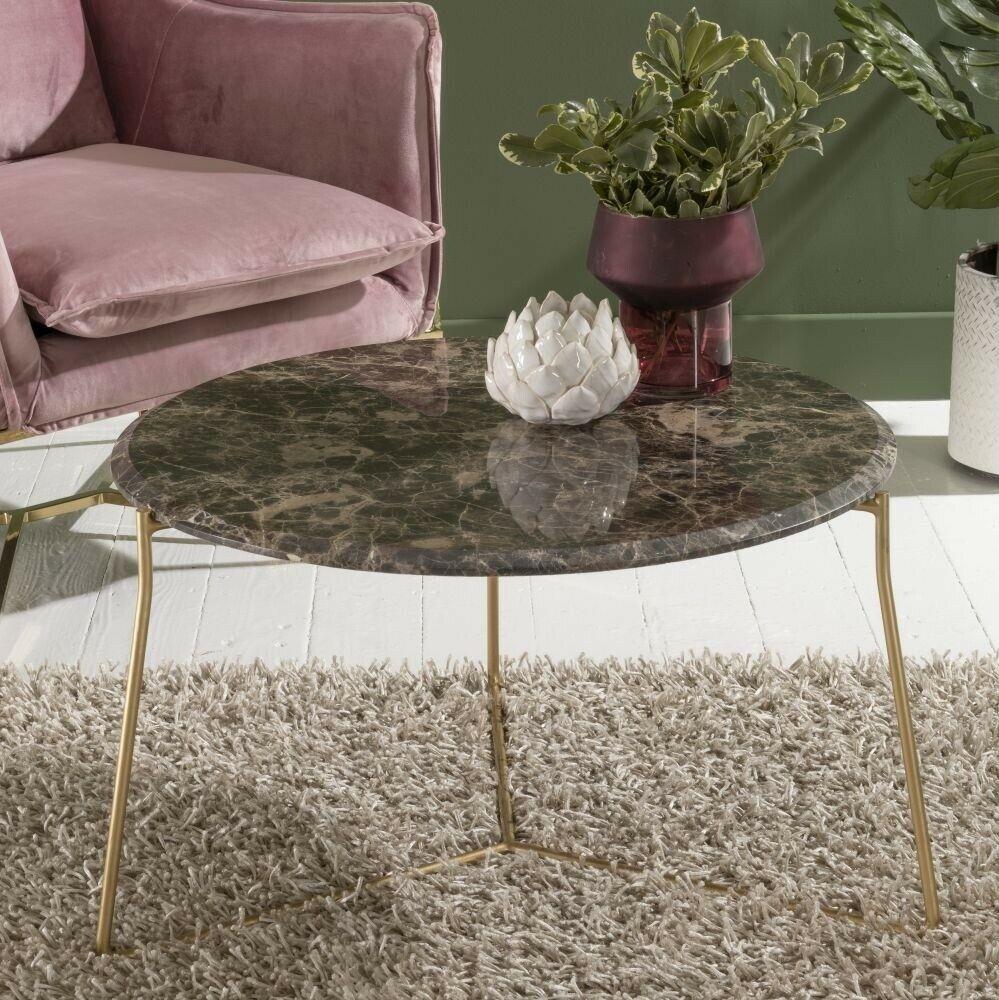 Trio Brown Emperador Marble Round Coffee Table