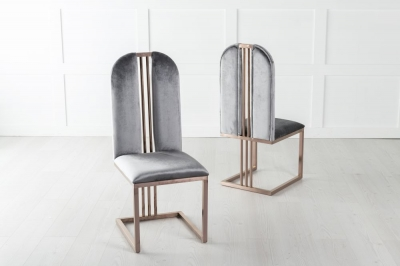 Troy Bronze Frame Grey Velvet Dining Chair