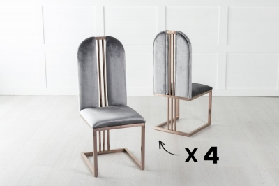 Set of 4 Troy Bronze Frame Grey Velvet Dining Chair
