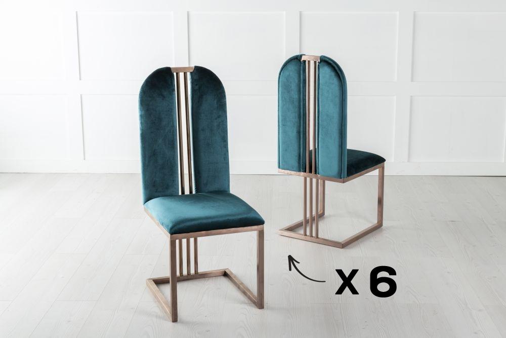 Set of 6 Troy Bronze Frame Green Velvet Dining Chair