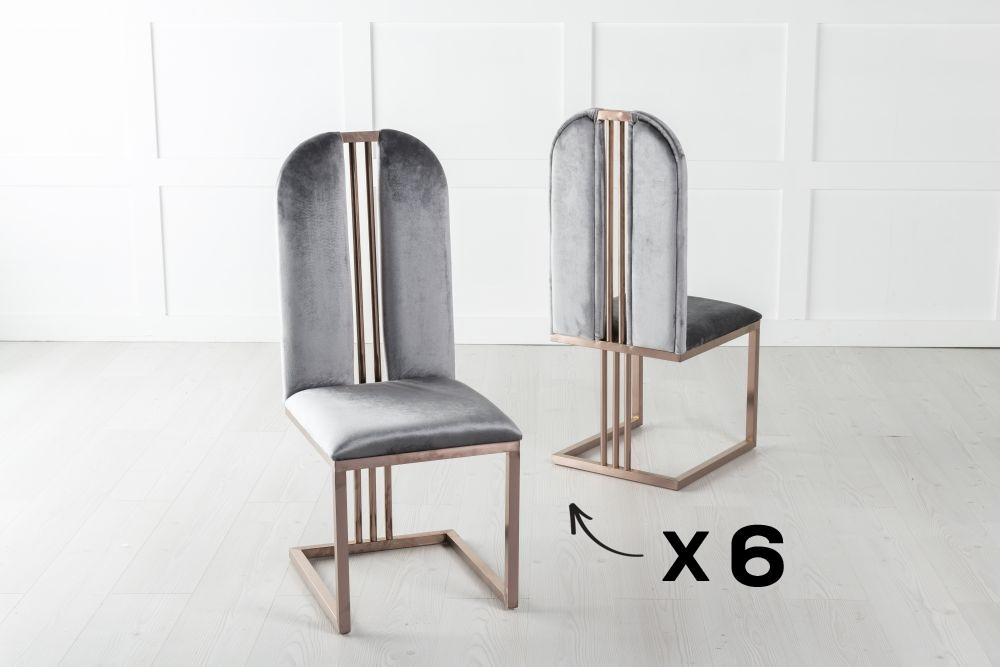 Set of 6 Troy Bronze Frame Grey Velvet Dining Chair