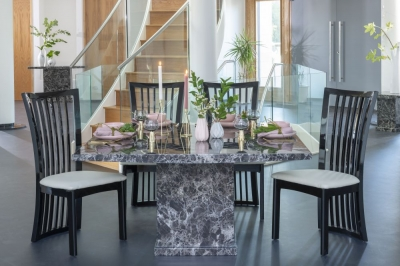 Buy Urban Deco Turin Black Marble 140cm Dining Table with 4 Athena Chairs and Get 2 Extra Chairs Worth £396 For FREE