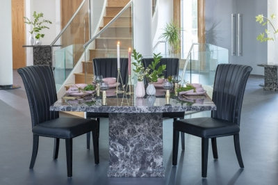 Urban Deco Turin 140cm Black Marble Dining Table and 6 Cadiz Black Chairs