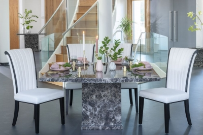 Urban Deco Turin 140cm Black Marble Dining Table and 6 Cadiz White Chairs