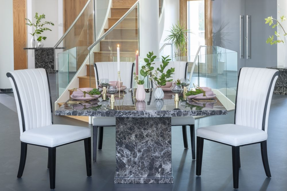 Urban Deco Turin 140cm Black Marble Dining Table And 6 Cadiz White Chairs Cfs Furniture Uk