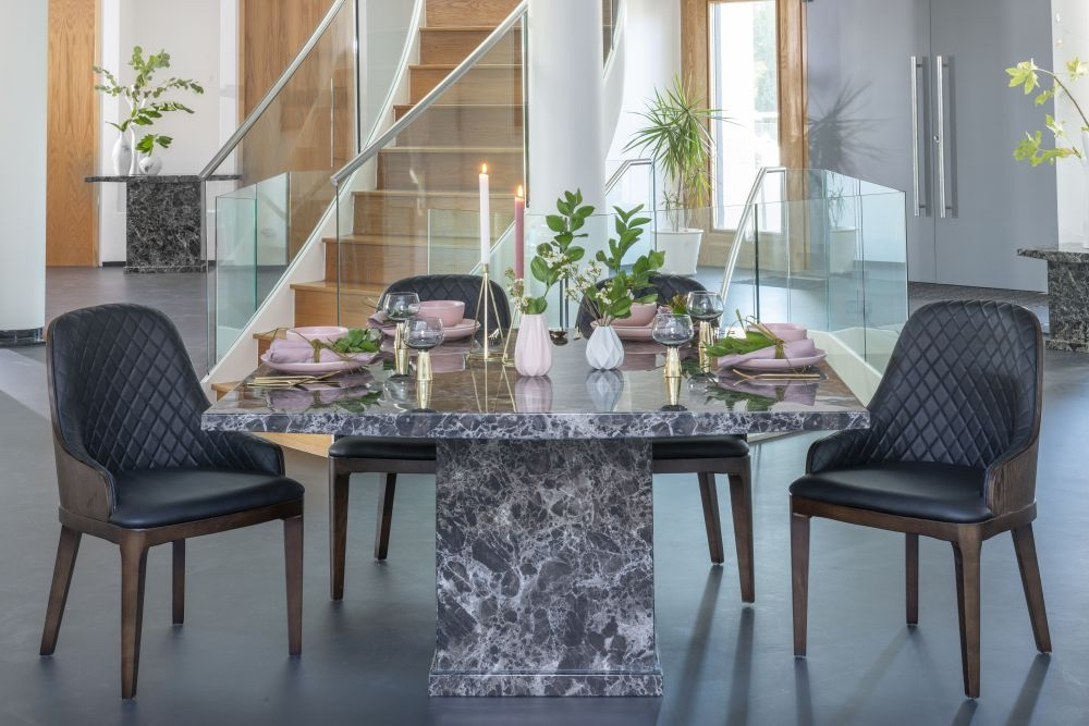 Urban Deco Turin Black Marble 140cm Square Dining Set with Madrid Black Chairs