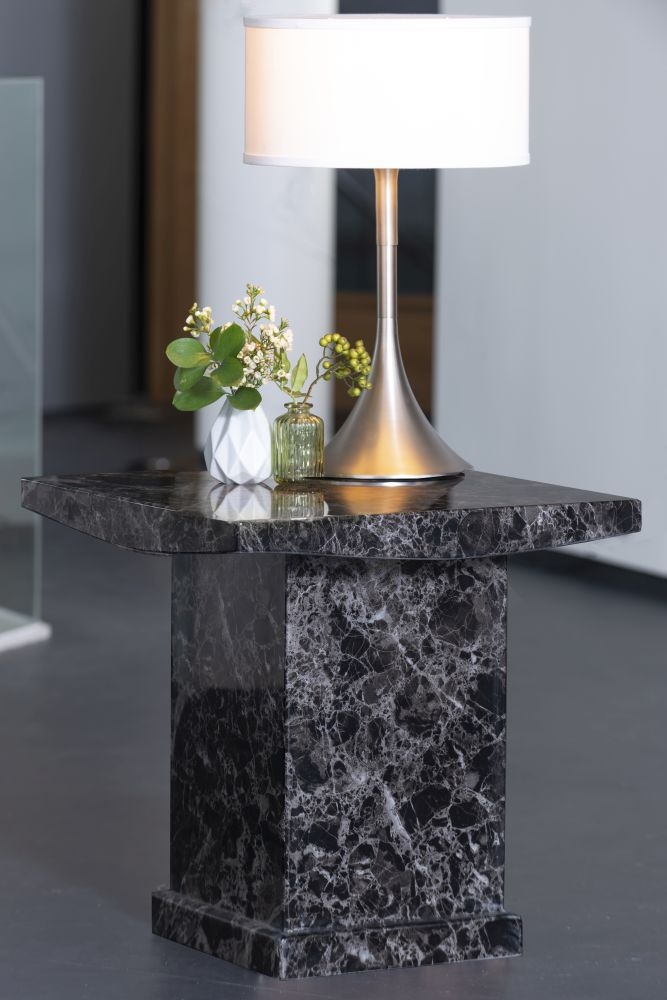 Urban Deco Turin Black Marble Square Lamp Table