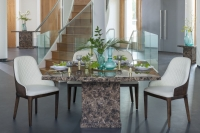 Urban Deco Turin Brown Marble 140cm Square Dining Set with Madrid White Chairs