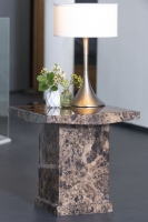 Urban Deco Turin Brown Marble Square Lamp Table