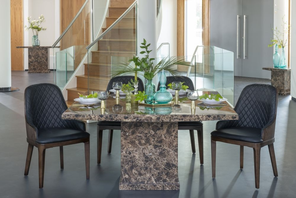 Urban Deco Turin Brown Marble 140cm Square Dining Set with Madrid Black Chairs