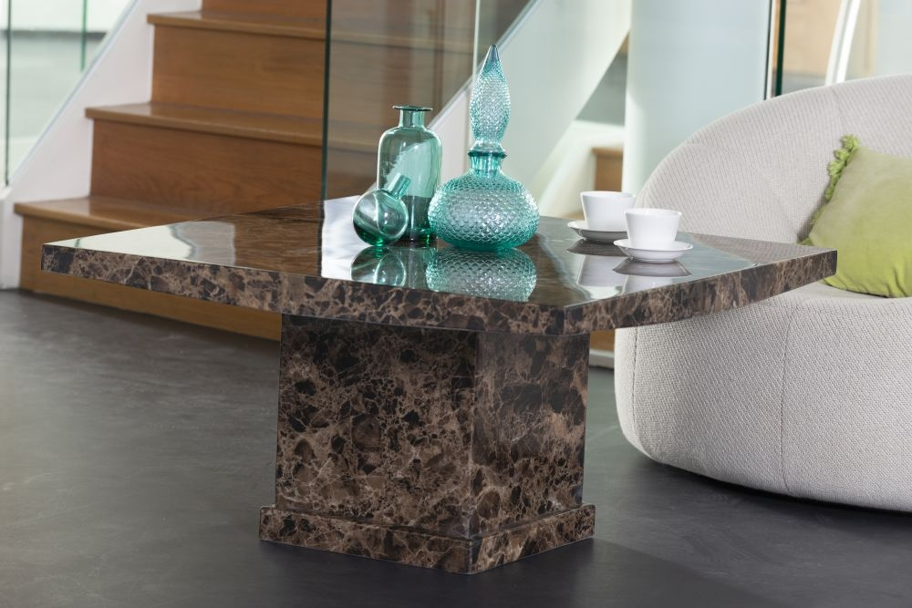 Urban Deco Turin Brown Marble Coffee Table