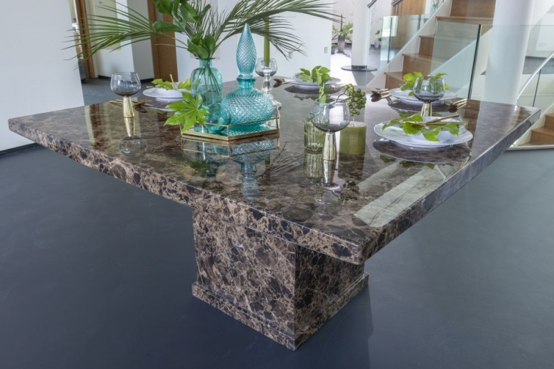Urban Deco Turin 140cm Brown Marble Dining Table