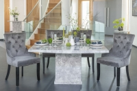 Buy Urban Deco Turin Grey Marble 140cm Dining Table with 4 Grey Knockerback Chairs and Get 2 Extra Chairs Worth £350 For FREE