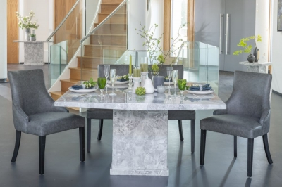 Urban Deco Turin Grey Marble 140cm Square Dining Set with Loire Grey Chairs