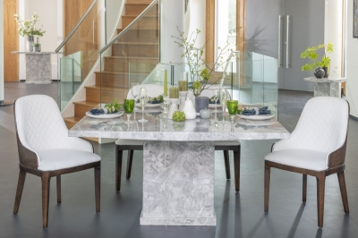 Urban Deco Turin Grey Marble 140cm Square Dining Set with Madrid White Chairs