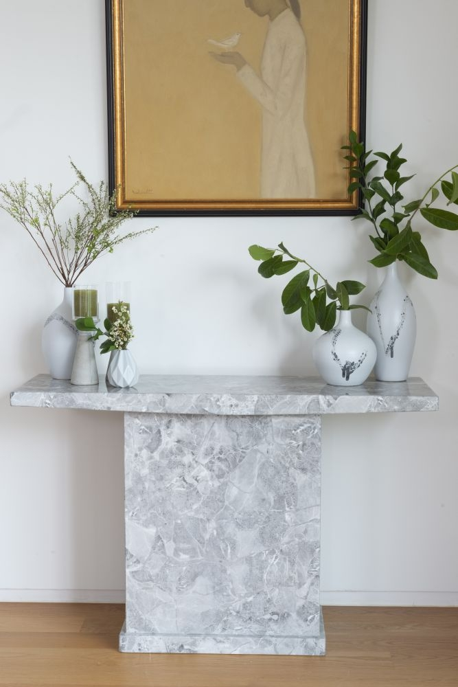 Urban Deco Turin Grey Marble Console Table