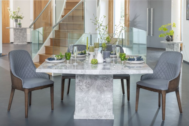 Urban Deco Turin Grey Marble 140cm Square Dining Set with Madrid Grey Chairs