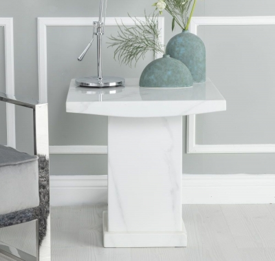 Urban Deco Turin White Marble Square Lamp Table
