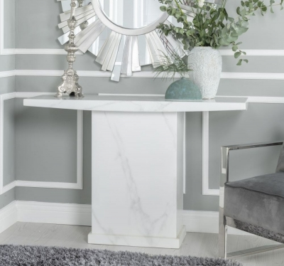 Urban Deco Turin White Marble Console Table