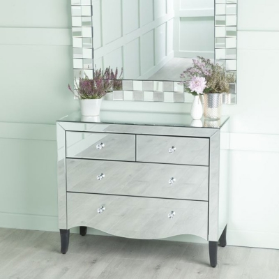 Urban Deco Venetian Mirrored 2+2 Drawer Chest