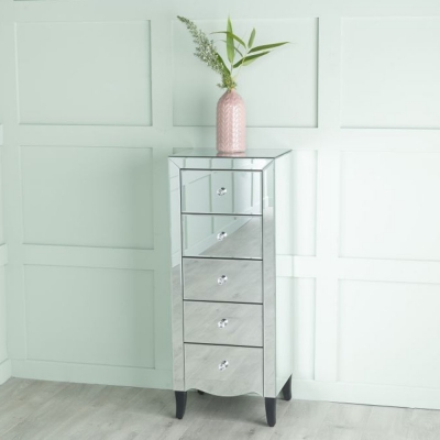 Urban Deco Venetian Mirrored 5 Drawer Tall Chest