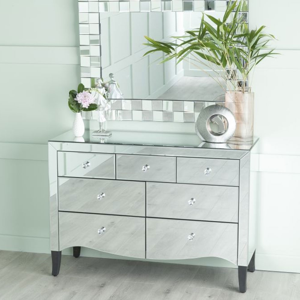 Urban Deco Venetian Mirrored 3+4 Drawer Chest
