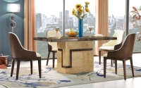 Urban Deco Venice Cream Marble 160cm Rectangular Dining Set with Madrid Beige Chairs