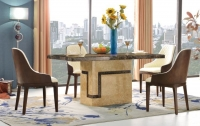 Urban Deco Venice Cream Marble 180cm Rectangular Dining Set with Madrid Beige Chairs