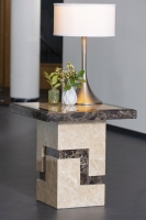 Urban Deco Venice Cream Marble Lamp Table
