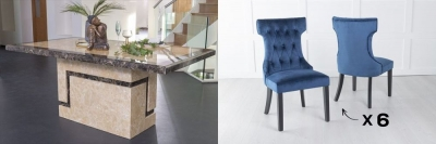 Urban Deco Venice 200cm Cream Marble Dining Table and 6 Courtney Blue Chairs