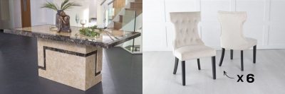Urban Deco Venice 200cm Cream Marble Dining Table and 6 Courtney Champagne Chairs