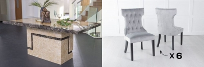 Urban Deco Venice 200cm Cream Marble Dining Table and 6 Courtney Light Grey Chairs