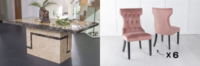 Urban Deco Venice 200cm Cream Marble Dining Table and 6 Courtney Pink Chairs