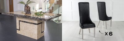 Urban Deco Venice 200cm Cream Marble Dining Table and 6 Allure Black Chairs