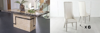 Urban Deco Venice 200cm Cream Marble Dining Table and 6 Allure White Chairs