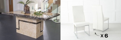 Urban Deco Venice 160cm Cream Marble Dining Table and 6 Enzo Cream Chairs