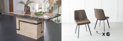 Urban Deco Venice 200cm Cream Marble Dining Table and 6 Ezra Brown Chairs