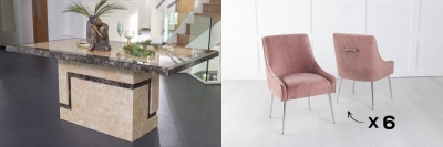 Urban Deco Venice 160cm Cream Marble Dining Table and 6 Giovanni Pink Chairs