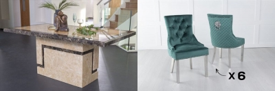 Urban Deco Venice 160cm Cream Marble Dining Table and 6 Lion Head Green Chairs with Chrome Legs